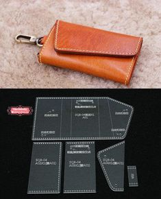 Leather Key Case / KeyChain /Key Pouch / Card Holder Acrylic Template - 1 size for choose, Leathercraft Pattern Leather Bag Tutorial, Leather Wallet Pattern, Sewing Leather, Leather Craft, Leather Key Holder, Leather Key Case, Leather Pouch, Leather Purses, Key Pouch