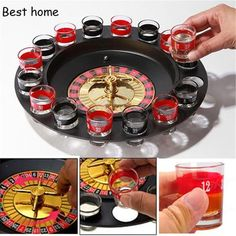 Shot Glass Roulette Drinking Game with 16 Shot Glasses