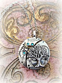 The Tree of Life Antique Unique Pocketwatch Mechanism Necklace - product image