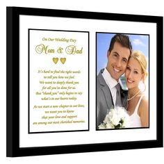 Parent Thank You Wedding Gift – Thank You Poem From Both the Bride and Groom in 8x10 Inch Frame - Add Photo >>> Visit the image link more details. (This is an affiliate link) #PictureFrames