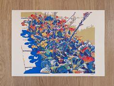 Handmade screen print painting Magical Bergenia floral landscape serigraph screenprint original fine art artwork by komarovart on Etsy