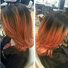 Juicy orange-peach color done by Emily  using the power of #elumen color! at Aurelio Salon of Howell, NJ