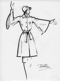 Sketch of the uniform of the Florentine municipal police, designed by Emilio Pucci. Courtesy Emilio Pucci archive.