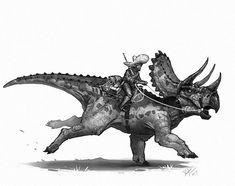 Dinosaurs of the Wild West Art By Shaun Keenan – Dinosaur Drawing, Dinosaur Art, Native American Warrior, West Art, Jurassic Park World, Bd Comics, Prehistoric Creatures, Prehistory, Fantasy Creatures