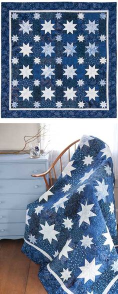 Jack Frost Starry Night quilt kit - two color quilt