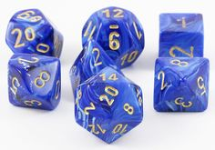 Be the hero of your next RPG adventure with a set of Vortex Dice (Blue). This set contains all the classic polyhedral dice you know and love: d4, d6, d8, d10, d%, d12, and d20. Each Vortex die is poli