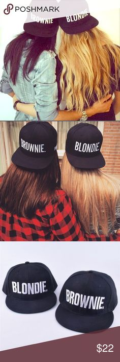 ❤️COMING SOON❤️ Blondie & Brownie hat 100% Brand New and High Quality Color: White is Queen for Women Black is King for Men Material: Polyester Size:Peak:L*W:19*7cm,H:11cm,Hood:54-60cm(Adjustable) Package included: 1X Baseball Cap Conversion: 1 inch= 2.54cm, 1cm=0.39inch Accessories Hats