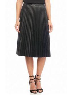 Melissa Paige Black Faux Leather Pleated Skirt