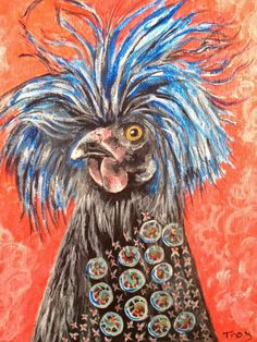 BoHo Chicken Acrylic Paint on Canvas 8x10 Whimsical Animal Portrait Painting www.berggrenfibers.com