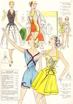 Playsuits and swimsuits galore! Vintage Inspired Dresses, Vintage Outfits, 1950s Fashion, Vintage Fashion, Pin Up Outfits, Vintage Swimsuits, Pattern Drafting, Playsuits, Vintage Sewing Patterns