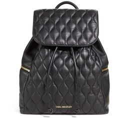 Vera Bradley Quilted Amy Backpack in Black (355 AUD) ❤ liked on Polyvore featuring bags, backpacks, black, purses, leather zip backpack, vera bradley, vera bradley backpack, black quilted backpack и leather bags