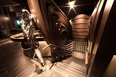 HYDE Lounge at American Airlines Arena on Behance Ancient Greek City, American Airlines Arena, Bar Lounge, Rooftop Bar, Restaurant Design, Hyde, Dark Wood, Night Life, Art Deco