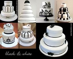 ideas for black and white wedding cakes