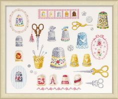 Cross-stitch / Embroidery Deco Dmc Thimbles And Scissors Cross Stitch K8it Bk1221