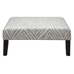 Striking Square steel grey zebra print, Cocktail Ottoman $499.00