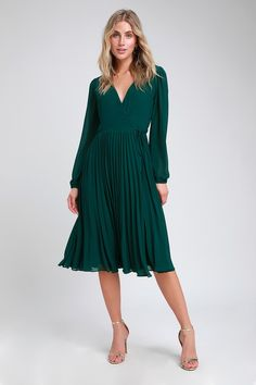 13a33710bb2 First Impression Dark Green Pleated Midi Wrap Dress