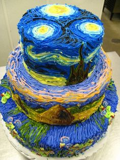 Once again, @Rachel has some mad research skills! This cake was decorated and photographed by Megpi. The top is Van Gough's Starry Night, the middle is Monet's Haystacks, and the bottom is Water Lillies, also by Monet.