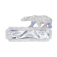 ARCTIC, THE POLAR BEAR ROCK CRYSTAL brooch set with pavé diamonds and sapphires, rock crystal, in white gold USD $51,500