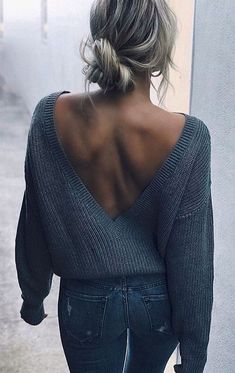 #fall #outfits women's gray knit sweater and gray denim fitted jeans