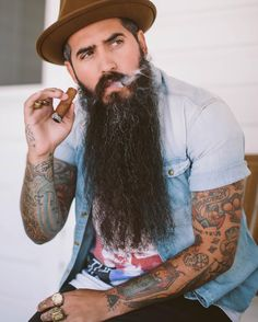 Trig Perez - full thick very long black beard mustache beards bearded man men mens' style fashion clothing tattoos tattooed cigar smoking handsome #beardsforever