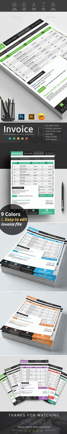 Professional Invoice Template Vol  Template Fonts And Print