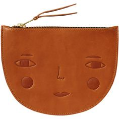 Goldie Leather Zip Pouch Donna Wilson (6.280 RUB) ❤ liked on Polyvore featuring bags, handbags, clutches, leather clutches, brown leather purse, leather man bag, hand bags and brown purse