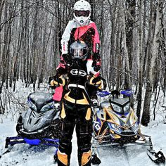 Snowmobiling Couple