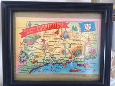 A personal favorite from my Etsy shop https://www.etsy.com/listing/516051653/8-x-10-framed-vintage-connecticut-map