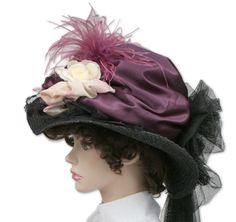 1800s Ladies Purple Straw,Lace Touring Hat | 19th Century | Historical | Period Clothing | Theatrical || Victorian Touring Hat, Plum