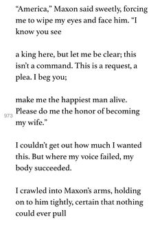 The One by Kiera Cass. Maxon's proposal to America singer