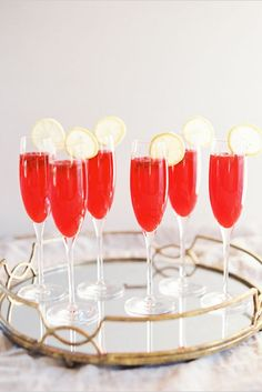 All The Champagne Cocktails You'll Ever Need #refinery29 http://www.refinery29.com/champagne-cocktails-recipes#slide-4 Pomegranate SpritzersHomemade pomegranate syrup is surprisingly easy to make — and will make you look like a certified mixologist when you mix it with bubbly....