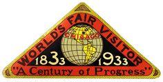 Chicago World's Fair-Visitor Sticker ~ 1933