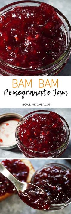 What to make with pomegranates? Bam Bam Pomegranate Jam is beautiful, festive and so delicious! Perfect for toast & jam or your fav PB&J!  via @bowlmeover