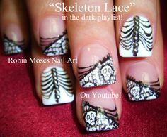 """skull nails"" ""skeleton nails"" ""skeleton lace"" ""skull lace"" ""nails"" ""halloween nails"" ""halloween nail art"" ""nail art"" ""diy nail art"" ""easy halloween nails"" ""halloween designs"" ""halloween ideas"" ""sugar skull nails"" ""day of the dead"" ""nail art"" Lace Nail Design, Lace Nail Art, Lace Nails, Nail Art Diy, Cool Nail Art, Diy Nails, Nail Art Designs, Nail Nail, Nails Design"
