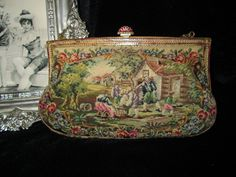 Magnificent Vintage Figural Scenic Micro Petit Point Purse with Enamel Frame. $199.99, via Etsy.