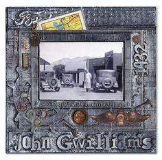 Super Service (Steampunk-Style Layout) Left - Scrapbook.com...love this industrial look with the antique cars!!!