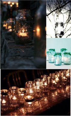 Tea lights and mason jars <3