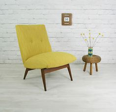 hello cute yellow chair. *** Parker Knoll vintage armchair