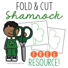 Fold and Cut Shamrock! Fold the paper in half down the middle black line. Cut on the green lines. Open the paper to reveal a full shamrock. Includes 2 Versions of lines to cut. St Patricks Day Crafts For Kids, Holiday Crafts For Kids, Holiday Activities, Holiday Themes, Cutting Activities, Preschool Activities, Gross Motor Activities, Preschool Curriculum, Homeschool