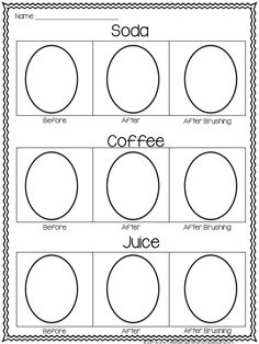 EGG Science Experiment! Soak eggs in soda, water and coffee to see how teeth stain. Then use toothpaste and a toothbrush to clean the eggs! Great for Dental Awareness Month!