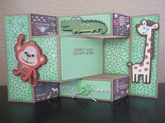 Child's birthday card (trifold shutter card) Tri Fold Cards, Fancy Fold Cards, Folded Cards, Baby Shower Cards, Baby Cards, Cricut Cards, Stampin Up Cards, Trifold Shutter Cards, Tattered Lace Cards