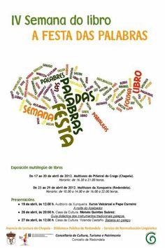 Cartel IV Semana do Libro - Abril 2012 - Bibliotecas Municipais de Redondela e mais Servizo de Normalización Lingüística de Redondela
