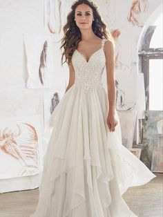 A-line Straps Sweep/Brush Train Sleeveless Chiffon Wedding Dress # VB401
