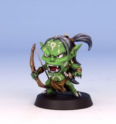 Goblin Archer from Arcadia Quest Painted by me Goblin Archer Love Painting, Figure Painting, Arte 8 Bits, Arcadia Quest, Arcade, Minis, Biscuit, Fantasy Miniatures, Mini Paintings