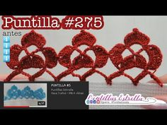 Puntilla #275 - YouTube Star Work, Crochet Earrings, Make It Yourself, Creative, Blog, Dish Towels, Crochet Stitches, Hand Embroidery, Knitting