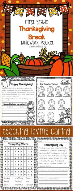 This fun Thanksgiving Break packet includes a fiction and nonfiction Thanksgiving themed comprehension passage, word work, writing and math activities. Make sure your kiddos are growing their brains over break with this fun home learning packet!  Common Core Aligned!  No Prep!   Includes an optional cover page with reading log!