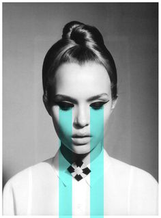 This use of line is immediately noticed by viewers as its bold width and high hue contrast the feminine black and white portrait. Alluding to tears pouring - this portrait is a contemporary interpretation of emotion. Design Graphique, Art Graphique, Girl Pose, Art Photography, Fashion Photography, Photography Illustration, Graphisches Design, Cover Design, Layout Design