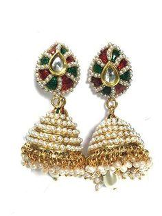 Dangle Earrings Jhumkas Goldtone Jewelry India Women Wear Kundan Dangle Earring Set, Gift Idea #mogulinteriordesigns #Fashion #Earrings #jhumkas #Silver #Goldton #jewel #FashionDangleEarrings #jhumkasEarrings #India #kundanJewelry #KundanpolkiSet  #giftforher #boho #bohemian
