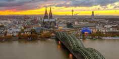 """Photo """"The Cathedral by sunset"""" by Markus  Landsmann on 500px  #Cologne #cityscape #longtimeexposure #markuslandsmann #photography #sunset #Panorama #bridge #500px"""
