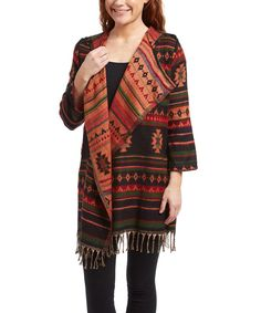 Loving this Fashion Fuse Rust Geometric Ruana on #zulily! #zulilyfinds